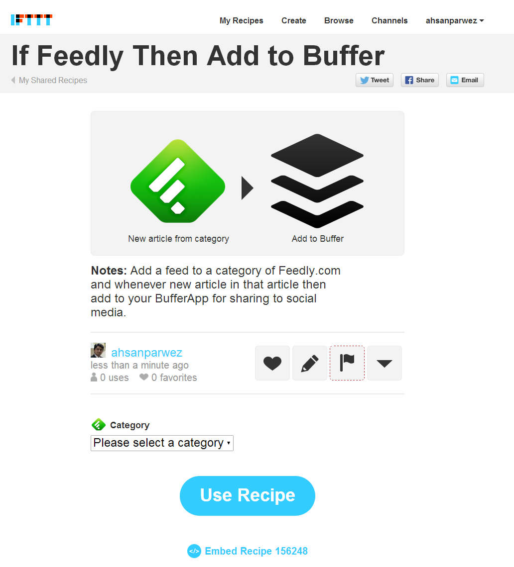 If Feedly Then Add to Buffer by ahsanparwez - IFTTT