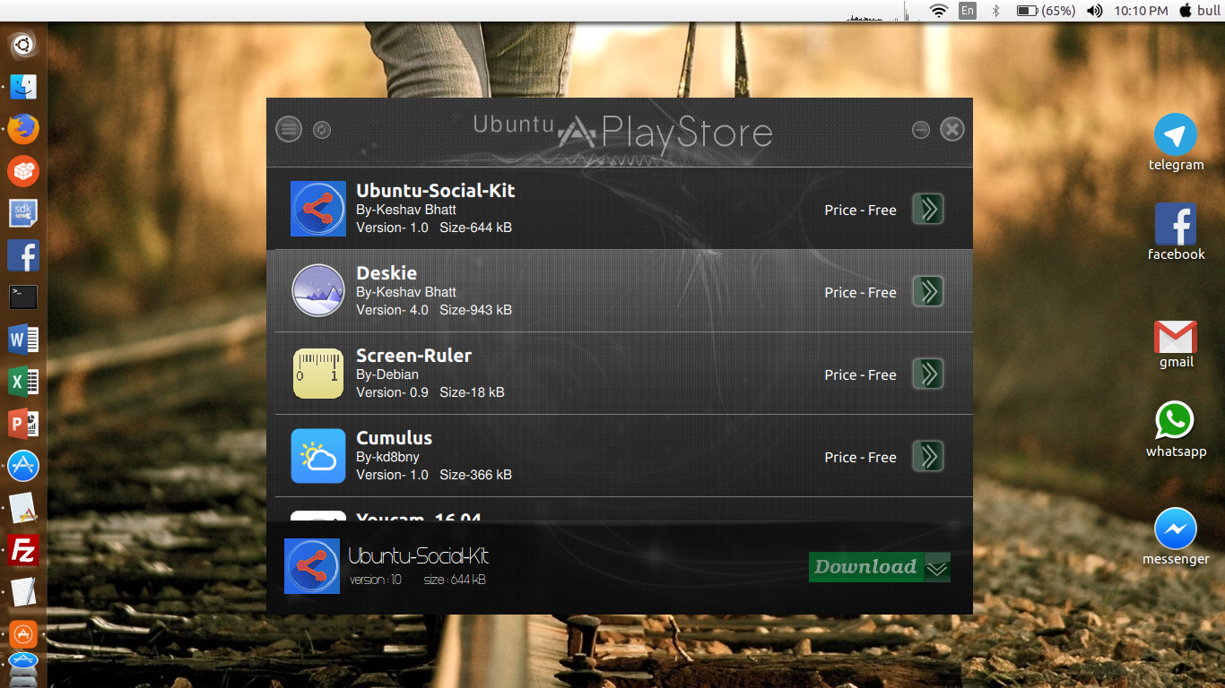 Ubuntu social media kit in Ubuntu play store