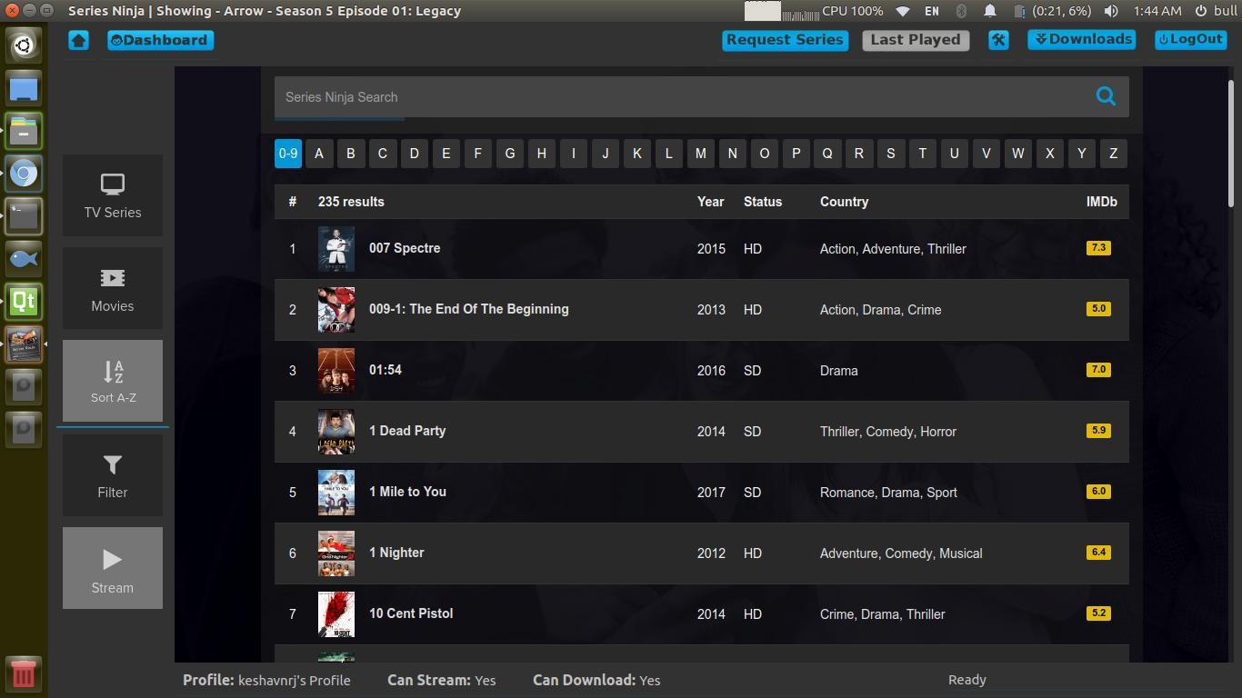 Screenshot Series Ninja Linux Alternative to Netflix